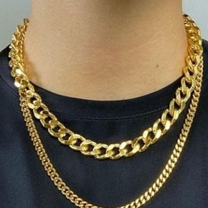 New 18k Gold Filled Cuban Curb Chain Necklace